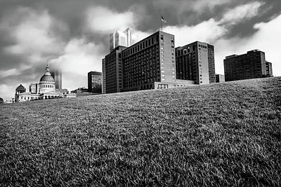 Photograph - Saint Louis City Skyline Architecture And Clouds - Monochrome by Gregory Ballos
