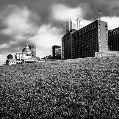 Photograph - Saint Louis City Skyline Architecture And Clouds - Monochrome Square by Gregory Ballos