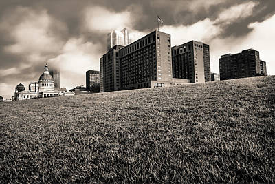 Photograph - Saint Louis City Skyline Architecture And Clouds - Sepia by Gregory Ballos