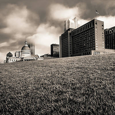 Photograph - Saint Louis City Skyline Architecture And Clouds - Sepia Square by Gregory Ballos