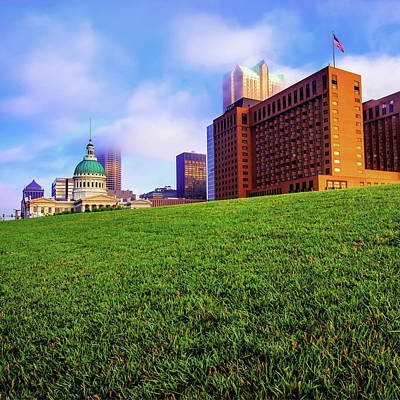 Photograph - Saint Louis City Skyline Architecture And Clouds - Square by Gregory Ballos