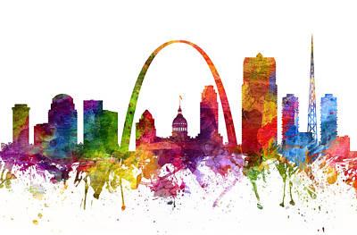 Missouri Drawing - Saint Louis Cityscape 06 by Aged Pixel