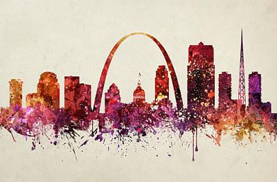Missouri Drawing - Saint Louis Cityscape 09 by Aged Pixel