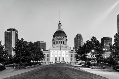 Photograph - Saint Louis Courthouse At Dawn - Monochrome by Gregory Ballos