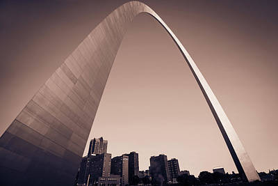 Photograph - Saint Louis Downtown Skyline Clear Morning Sepia 2 by Gregory Ballos