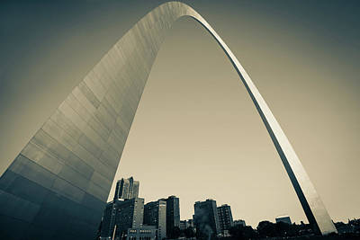 Photograph - Saint Louis Downtown Skyline Clear Morning Sepia by Gregory Ballos