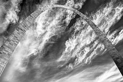St. Louis Photograph - Saint Louis Gateway Arch And Clouds - Black And White by Gregory Ballos