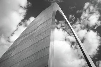 Photograph - Saint Louis Gateway Arch And Puffy Clouds - High Dynamic Range Black And White by Gregory Ballos