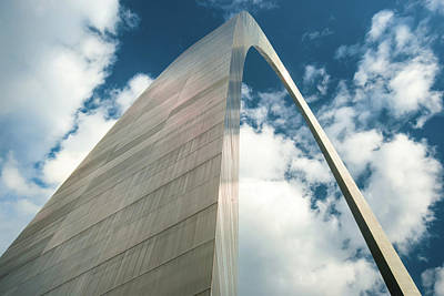 Photograph - Saint Louis Gateway Arch And Puffy Clouds - High Dynamic Range by Gregory Ballos