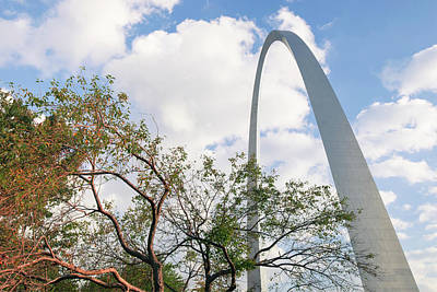 Photograph - Saint Louis Gateway Arch Behind Trees by Gregory Ballos