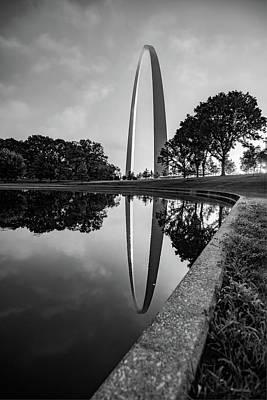 Photograph - Saint Louis Gateway Arch Morning Sunrise Reflections - Monochrome by Gregory Ballos