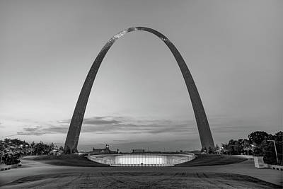 Photograph - Saint Louis Gateway Arch National Park At Twilight - Monochrome by Gregory Ballos