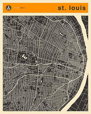 Louis Digital Art - St Louis Map by Jazzberry Blue