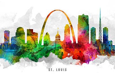Louis Digital Art - Saint Louis Missouri Cityscape 12 by Aged Pixel