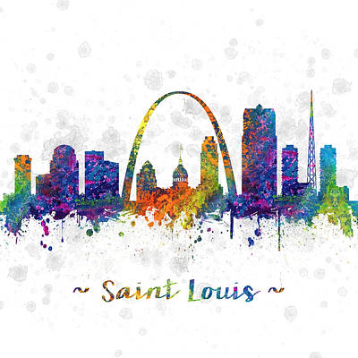 Skylines Drawing - Saint Louis Missouri Color 03sq by Aged Pixel