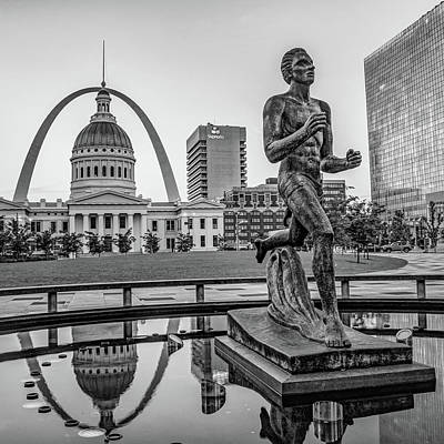 Photograph - Saint Louis Missouri Landmark Print - Black And White Square by Gregory Ballos