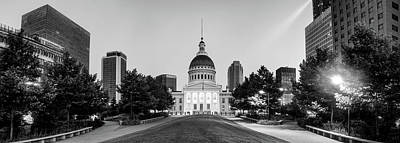 Photograph - Saint Louis Old Courthouse And Skyline Black And White Panorama by Gregory Ballos