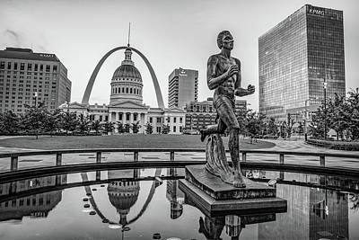 Photograph - Saint Louis Runner Statue And Gateway Arch - Black And White by Gregory Ballos