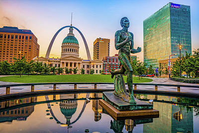 Photograph - Saint Louis Runner Statue And Gateway Arch by Gregory Ballos
