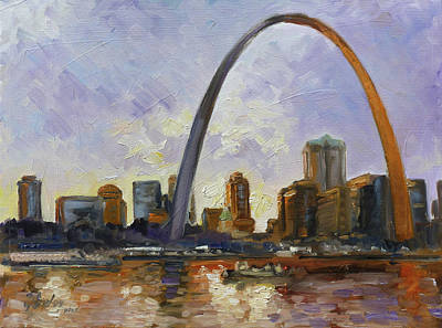 Painting - Saint Louis Skyline 3 by Irek Szelag