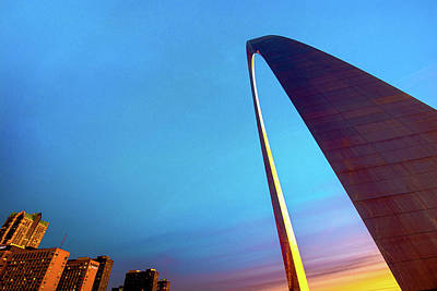 National Park Photograph - Saint Louis Skyline And Gateway Arch - Vibrant Morning Sky by Gregory Ballos