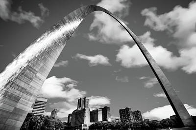 Photograph - Saint Louis Skyline Arch And Puffy Clouds - Black And White by Gregory Ballos
