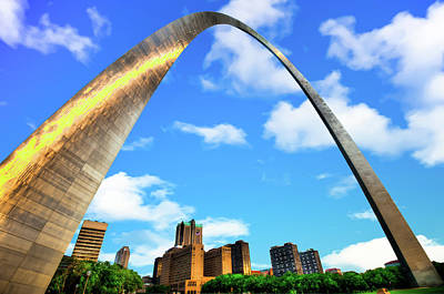 Photograph - Saint Louis Skyline Arch And Puffy Clouds - Blue Skies by Gregory Ballos