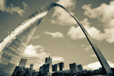 Photograph - Saint Louis Skyline Arch And Puffy Clouds - Sepia by Gregory Ballos