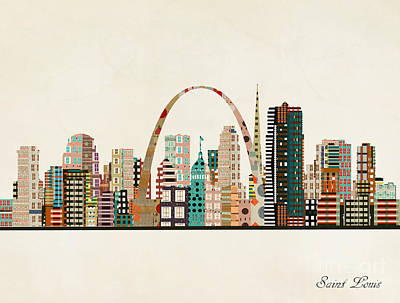Painting - Saint Louis Skyline by Bleu Bri