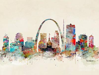 Painting - Saint Louis Skyline by Bleu Bri