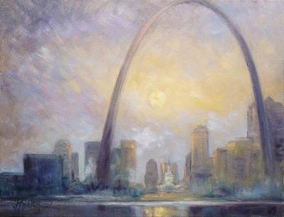 Painting - Saint Louis Skyline - Frosty Day by Irek Szelag