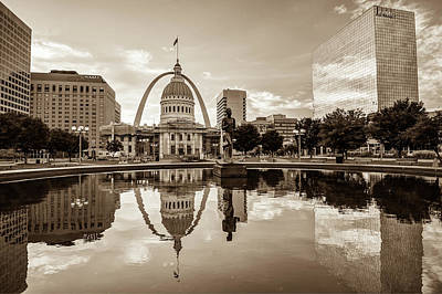 Photograph - Saint Louis Skyline In Vintage Sepia Tones by Gregory Ballos