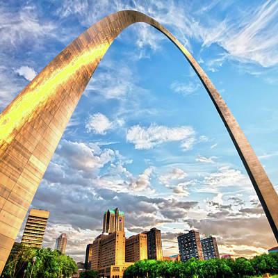 Photograph - Saint Louis Skyline Morning Under The Arch 1x1 by Gregory Ballos