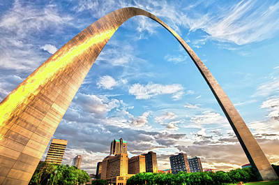 Saint Louis Skyline Morning Under The Arch Art Print