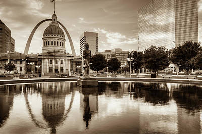 Photograph - Saint Louis Skyline - Sepia Edition by Gregory Ballos