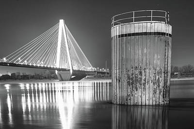 Photograph - Saint Louis Stan Musial Bridge Mississippi Riverscape - Black And White by Gregory Ballos