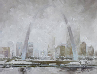 Downtown Painting - Saint Louis Winter Day by Irek Szelag