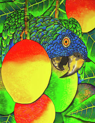 Painting - Saint Lucia Parrot With Mangos by Daniel Jean-Baptiste