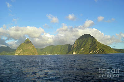 Digital Art - Saint Lucia The Pitons by Eva Kaufman