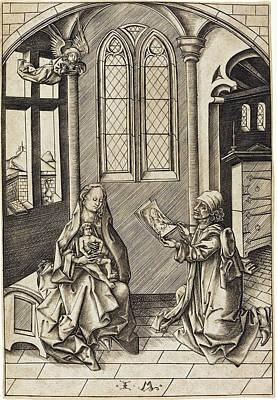 Drawing -  Saint Luke Drawing A Portrait Of The Virgin by Israhel van Meckenem