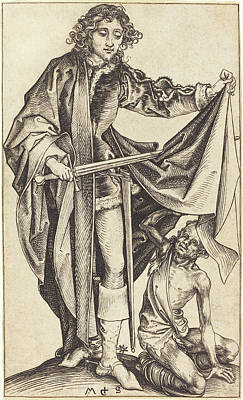 Drawing - Saint Martin Dividing His Cloak by Martin Schongauer
