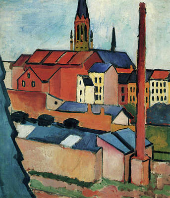 Rider Painting - Saint Mary's With Houses And Chimney, Bonn by August Macke