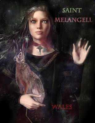 Painting - Saint Melangell Of Wales by Suzanne Silvir