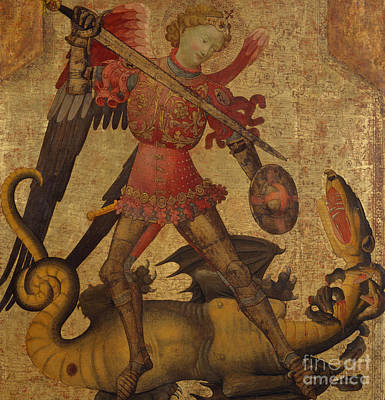 Good Vs. Evil Painting - Saint Michael And The Dragon by Spanish School