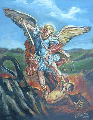 Painting - Saint Michael The Archangel by Bryan Bustard