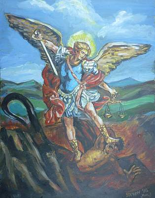 Painting - Saint Michael Version Two by Bryan Bustard