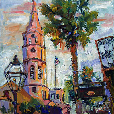 Saint Michaels Church Charleston Sc Oil Painting Art Print