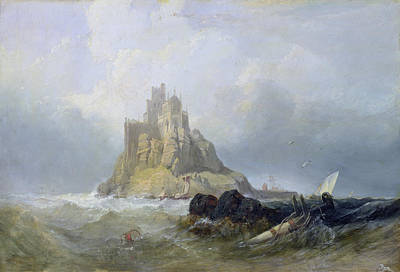Rocky Painting - Saint Michael's Mount In Cornwall  by William Clarkson Stanfield