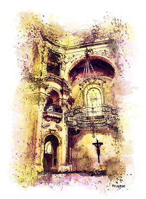 Prague Mixed Media - Saint Nicholas Church Prague  by Justyna JBJart