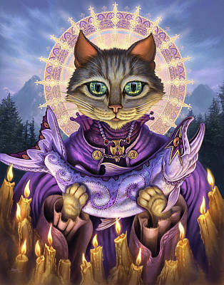 Fantasy Cats Painting - Saint Of Salmons by Jeff Haynie